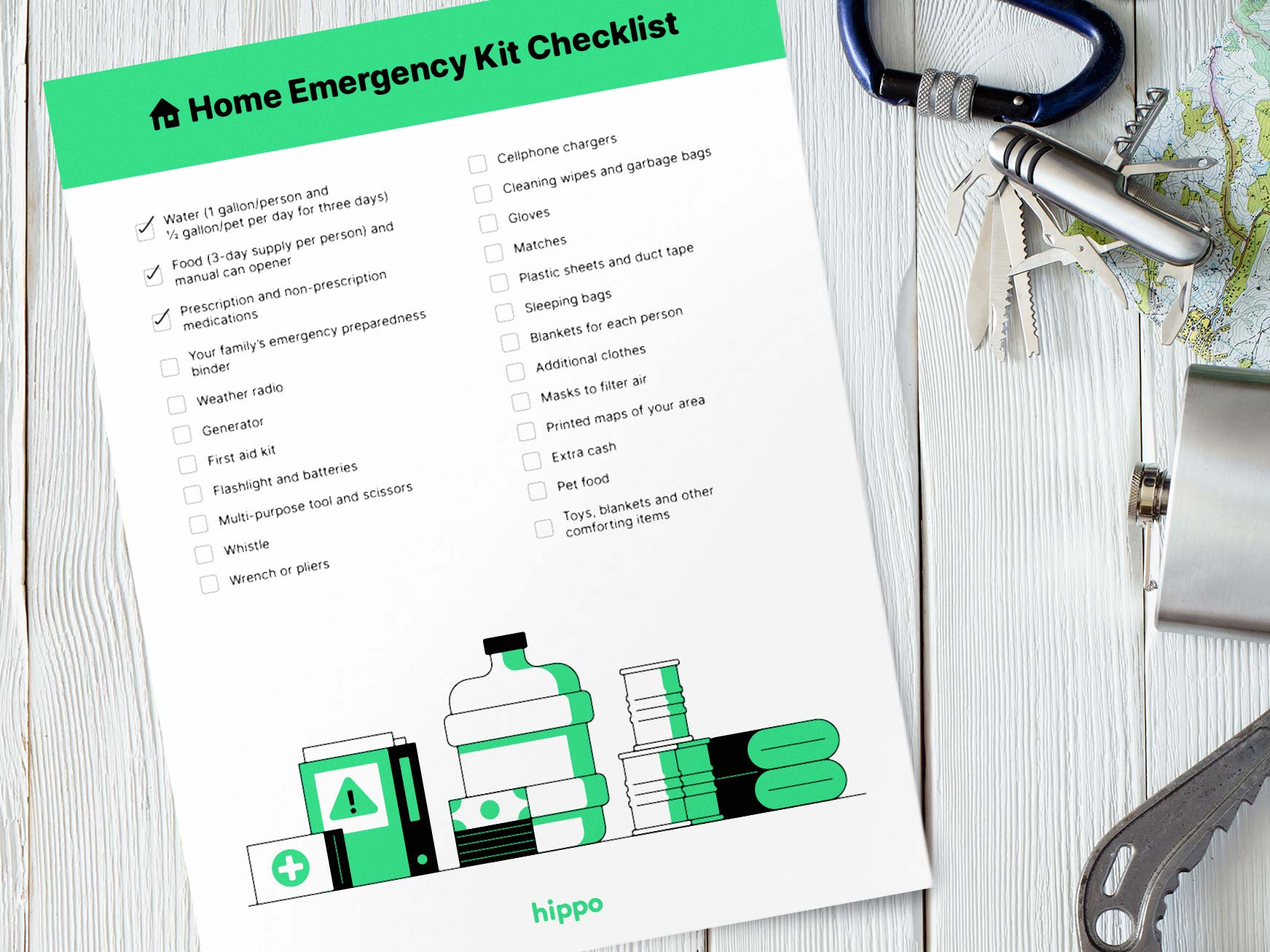 emergency kit checklist on a table
