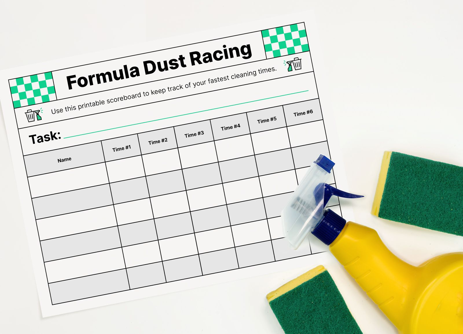 A printable score board sits among cleaning supplies like a spray bottle and sponges.