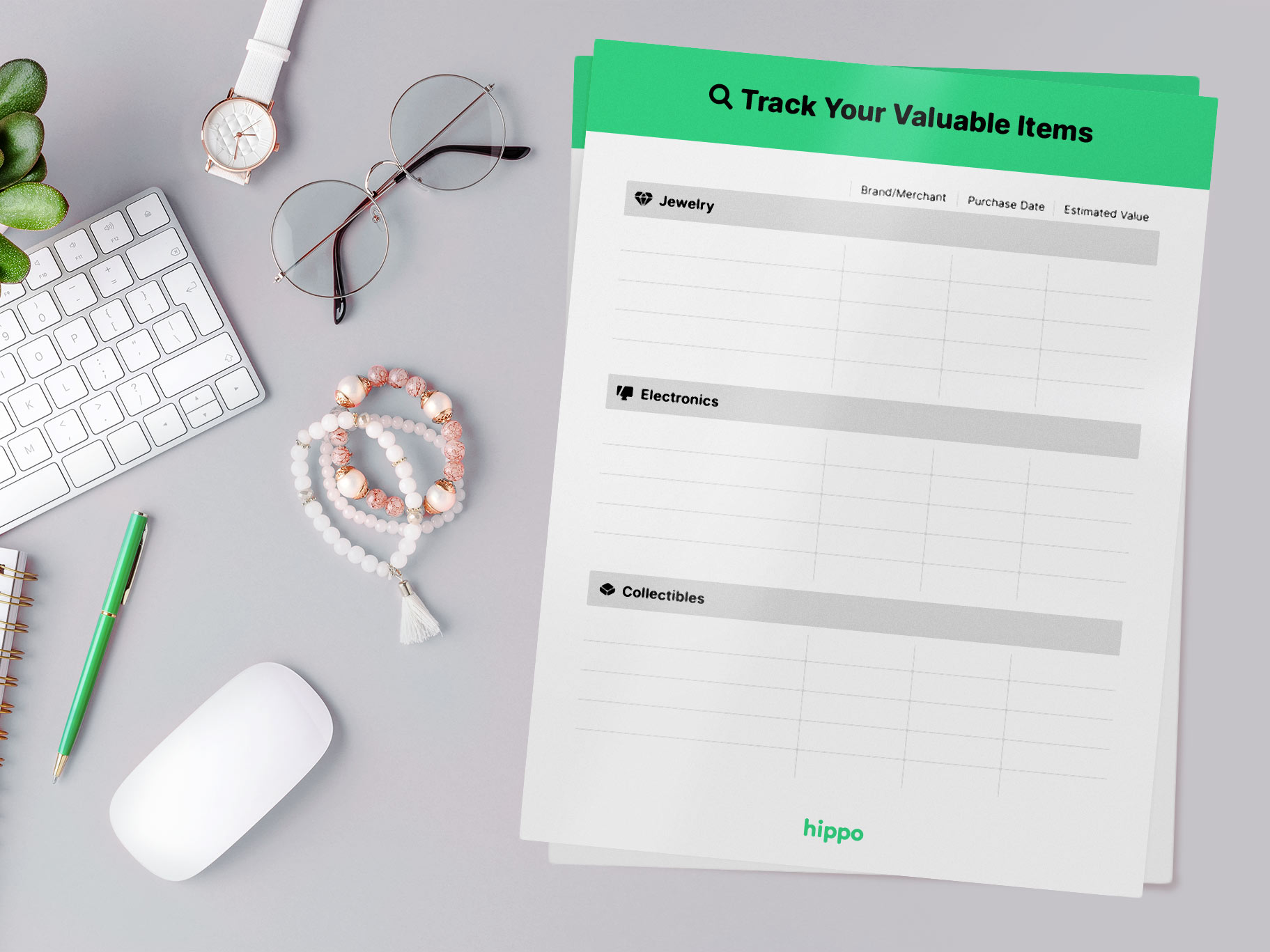 valuable items tracker on a desk