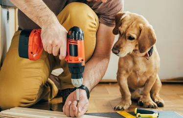 A man using a power tool a with a small puppy to his left